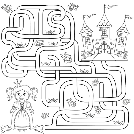 Help little cute princess find path to castle. Labyrinth. Maze game for kids. Black and white illustration for coloring book