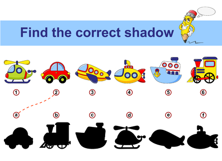 Find correct shadow. Kids educational game. Cartoon transport. Car, submarine, ship, plane, train, helicopter