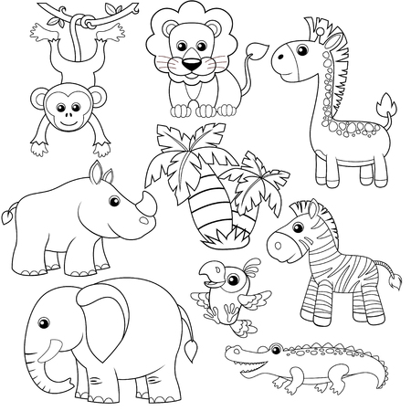 Jungle animals. Lion, elephant, giraffe, monkey, parrot, crocodile, zebra and rhinoceros. Black and white vector illustration for coloring book Stock Illustratie