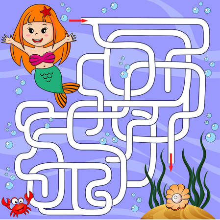 Help mermaid find path to pearl. Labyrinth. Maze game for kids Reklamní fotografie - 80103065
