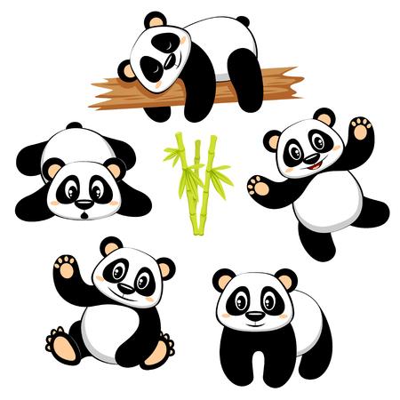Cute panda bear con diferentes emociones.