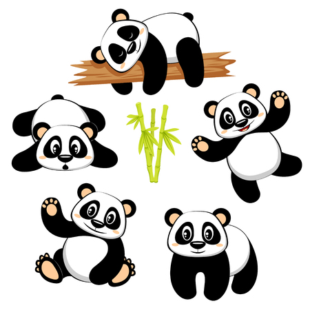 Cute panda bear with different emotions.
