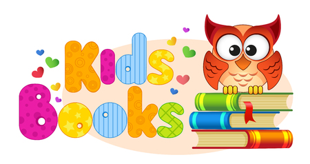 Kids books. Banner with owl on a pile of books Illustration