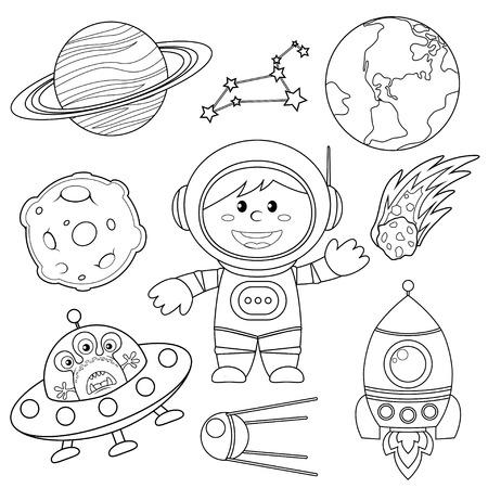 空間要素のセットです。宇宙飛行士、地球、土星、月、UFO、ロケット、彗星、星座、スプートニクと星。塗り絵の黒と白のイラスト