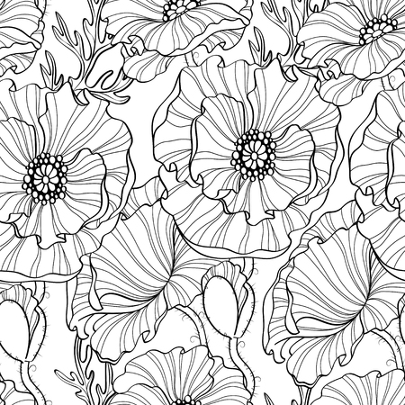 Seamless pattern with poppy flowers. Floral background. Black and white illustration