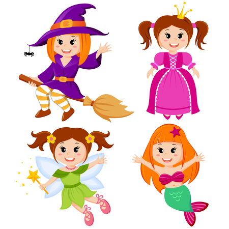 Set of cute fairytale girls. Halloween witch, mermaid, princess and fairy Illustration