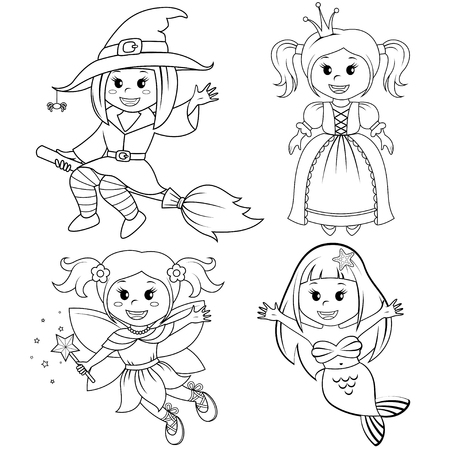 Set of cute fairytale girls. Halloween witch, mermaid, princess and fairy. Black and white vector illustration for coloring book