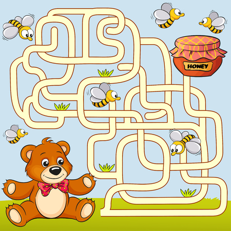 Help bear find path to honey. Labyrinth. Maze game for kids