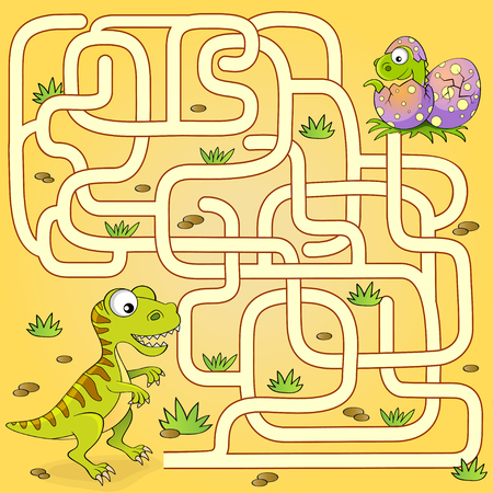 Help dinosaur find path to nest. Labyrinth. Maze game for kids Reklamní fotografie - 88486382