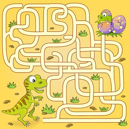 Hulp dinosaurus vondst pad naar nest. Labyrint. Doolhof spel voor kinderen Stockfoto - 88486382