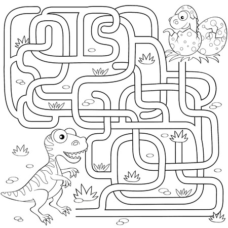 Help dinosaur find path to nest. Labyrinth. Maze game for kids. Black and white vector illustration for coloring book