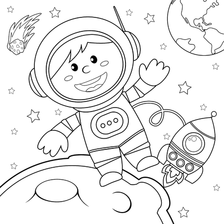 Astronaut in space. Black and white vector illustration for coloring book