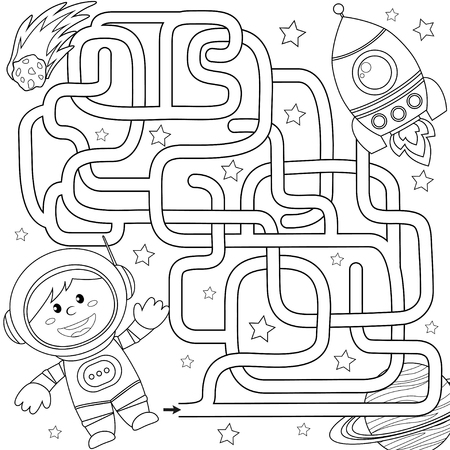 Help cosmonaut find path to rocket. Labyrinth. Maze game for kids. Black and white vector illustration for coloring book