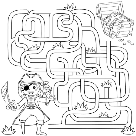 Help pirate find path to treasure chest. Labyrinth. Maze game for kids. Black and white vector illustration for coloring book