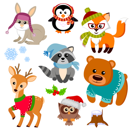 Winter animals in sweater, hat, scarf, glasses. Fox, bear, raccon, deer, owl, rabbit and penguin