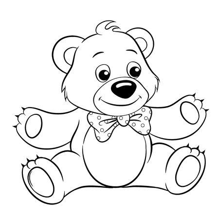Cute Cartoon Bear. Vector Black And White Vector Illustration ...