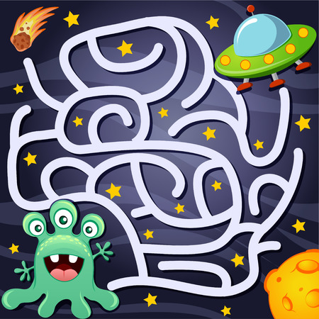 Help alien find path to UFO. Labyrinth. Maze game for kids