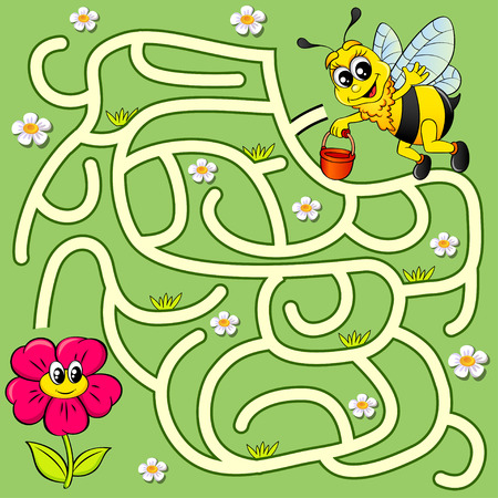 Help bee find path to flower. Labyrinth maze game for kids Vettoriali
