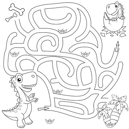 Help dinosaur find path to nest. Maze game for kids.