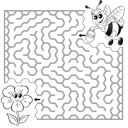 Help the bee find the path to the flower game vector illustration