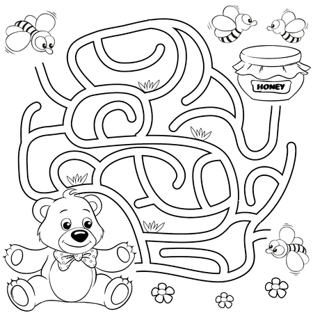 Help bear find path to honey. Labyrinth. Maze game for kids. Black and white vector illustration for coloring book 版權商用圖片 - 96425754