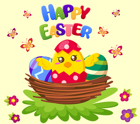 Happy Easter cute chicken sitting in nest with eggs Ilustrace