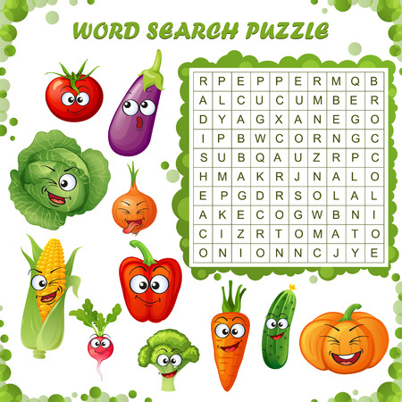 Word search puzzle. Vector education game for children. Cartoon vegetables emoticons.