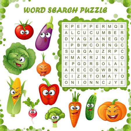 Wortsuchrätsel. Vektor-Lernspiel für Kinder. Cartoon Gemüse Emoticons.
