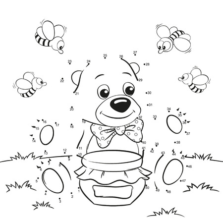 Cute cartoon bear with honey and bees. Dot to dot game for kids Vettoriali