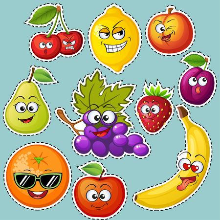 Cartoon fruit characters. Fruit emoticons. Stickers Grape, orange, apple, lemon, strawberry, peach, banana, plum, cherry, pear