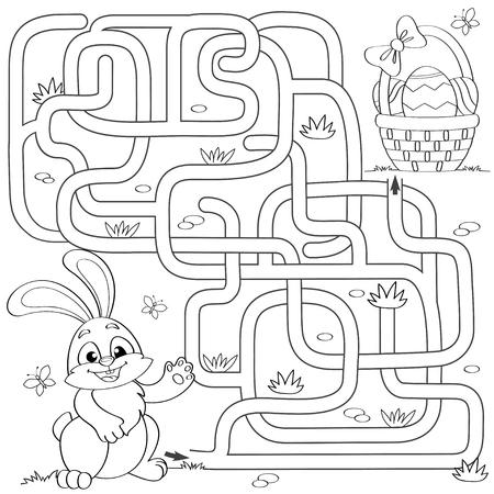 Help kleine konijntje het pad naar de paasmand met eieren te vinden. Labyrint. Doolhofspel voor kinderen. Zwart-wit vectorillustratie voor het kleuren van boek