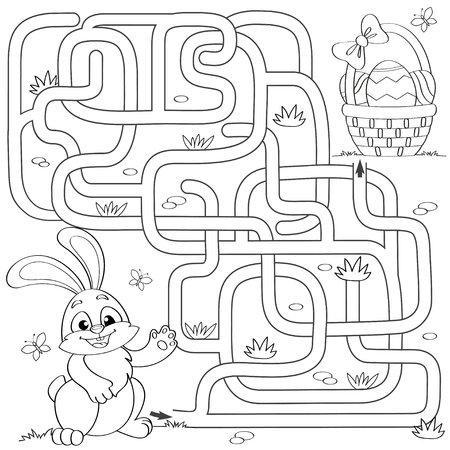 Help little bunny find path to easter basket with eggs. Labyrinth. Maze game for kids. Black and white vector illustration for coloring book 스톡 콘텐츠 - 102008945