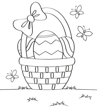 Basket with Easter eggs. Black and white vector illustration for coloring book Illustration