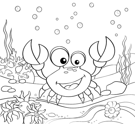 Cartoon crab. Underwater world. Black and white vector illustration for coloring book