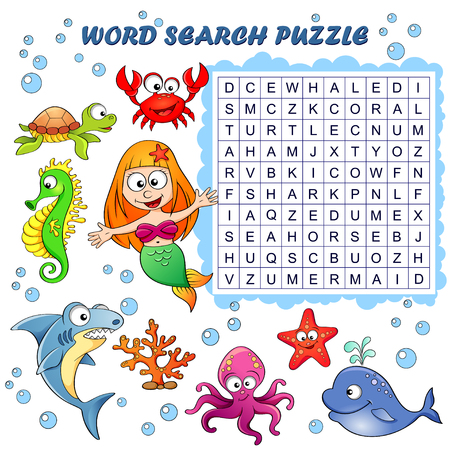 Word search puzzle. Vector education game for children. Sea animals Ilustracja