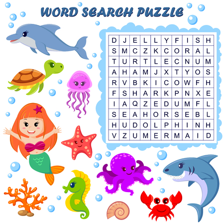 Word search puzzle. Vector education game for children. Sea animals 矢量图像