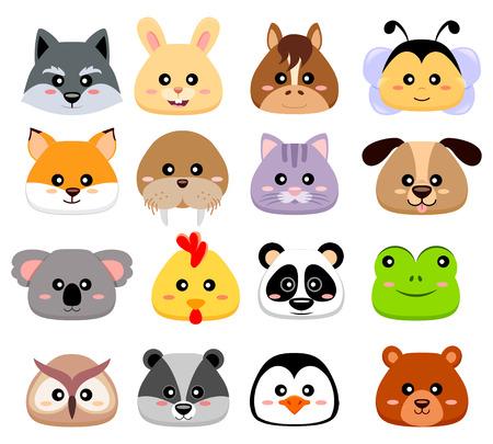 Cute cartoon animals head. Wolf, hare, horse, bee, fox, walrus, cat, dog, koala, chicken, panda, frog, owl, chipmunk, penguin, bear