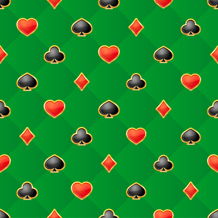 Seamless pattern with playing card suits on green background