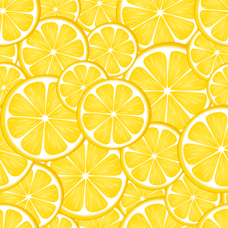Seamless pattern with yellow lemon. Citrus background