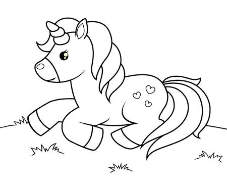 Licorne de dessin animé mignon. Illustration vectorielle noir et blanc pour cahier de coloriage
