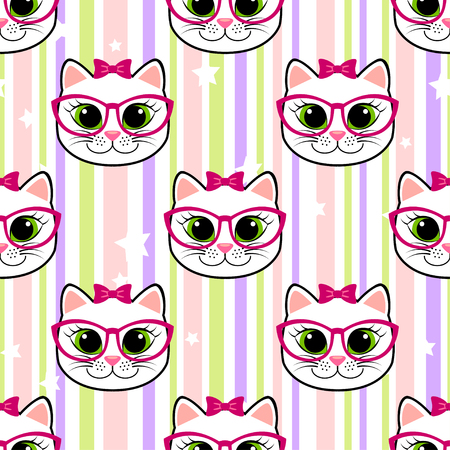 Seamless pattern with cat and stars