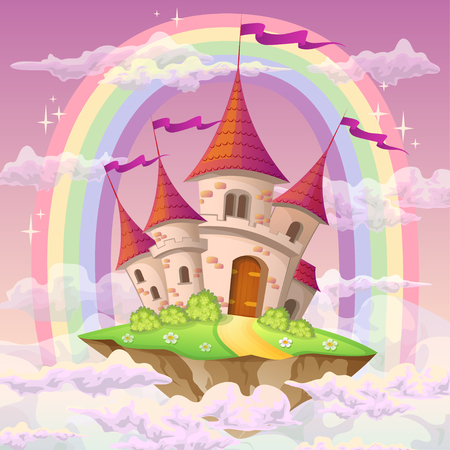 Fantasy flying island with fairy tale castle and rainbow in clouds