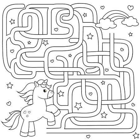 Help unicorn find path to rainbow. Labyrinth. Maze game for kids. Black and white vector illustration for coloring book