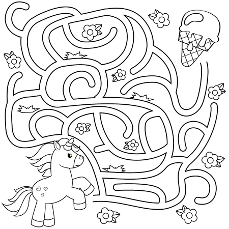 Help unicorn find path to ice cream. Labyrinth. Maze game for kids. Black and white vector illustration for coloring book