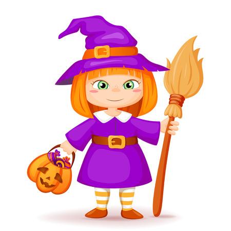 Cute little halloween witch Vektorgrafik
