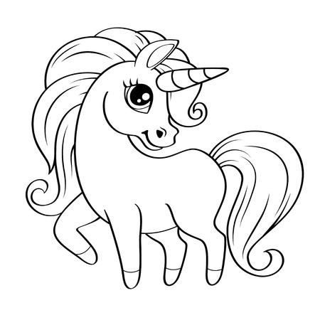 Pequeño unicornio lindo. Ilustración de vector blanco y negro para colorear libro