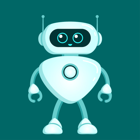 Cute robot character. Chatbot icon