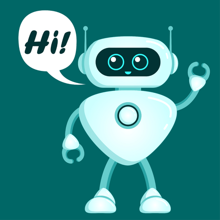Cute robot say hi. Chatbot icon