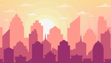 City skyline. Urban landscape. Silhouette of the city