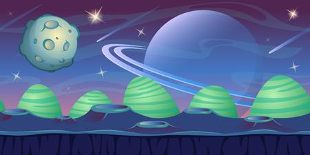 Fondo de espacio de fantasía para juego de interfaz de usuario. Fondo de paisaje alienígena azul